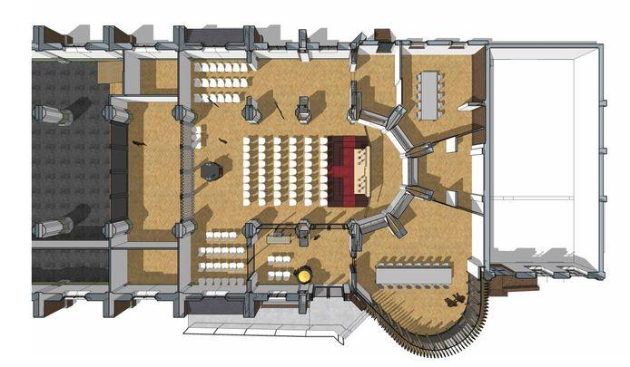 Een plattegrond van de kapel die straks in de Eerdse kerk moet komen.  De kerk draait 180 graden ten opzichte van de huidige situatie.