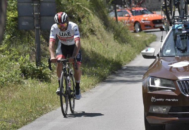 Fernando Gaviria moest afstappen in de zevende rit van de Giro.