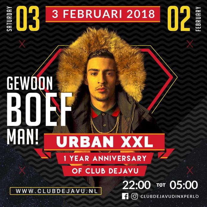 De aankondiging voor het optreden van rapper Boef in Dinxperlo.
