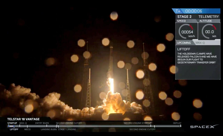 Een half uur na lancering draaide de Telstar 18 Vantage-satelliet rondjes om de aarde