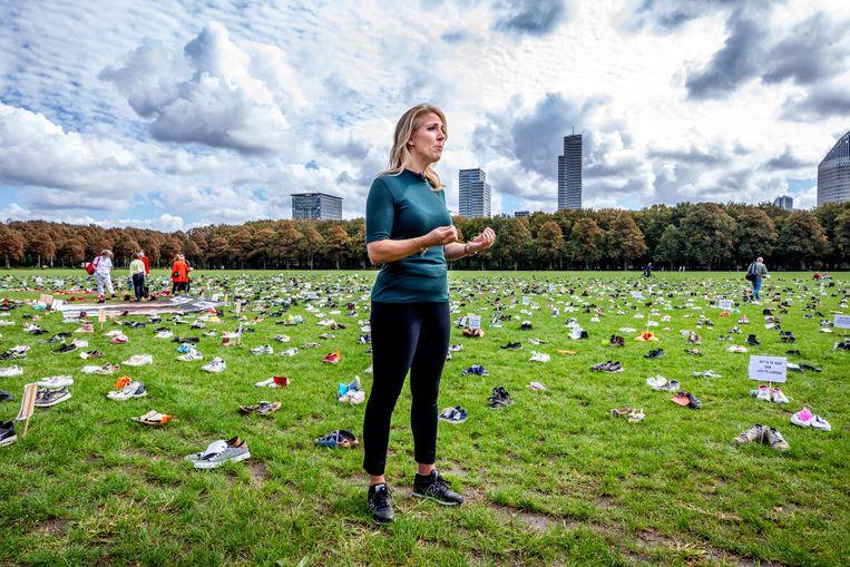 Lilian Marijnissen op het Malieveld in Den Haag. Beeld Raymond Rutting / de Volkskrant