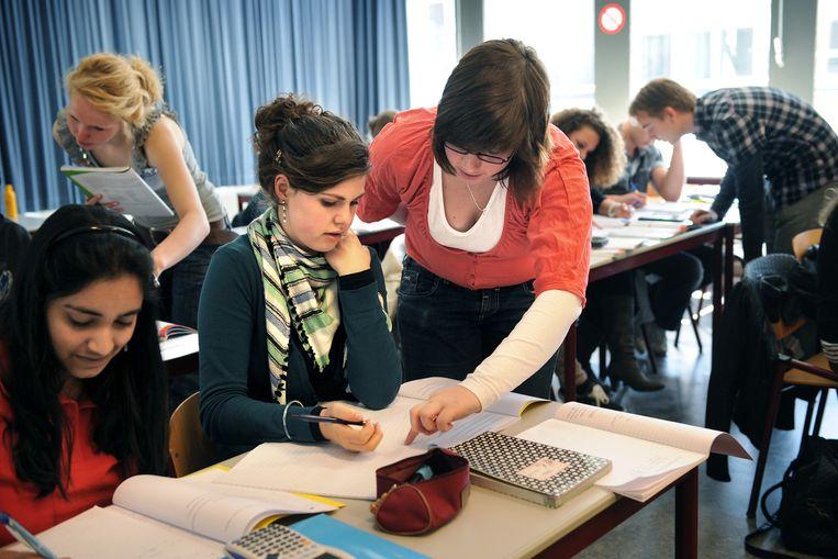 Een schoolklas in Leiden Beeld null