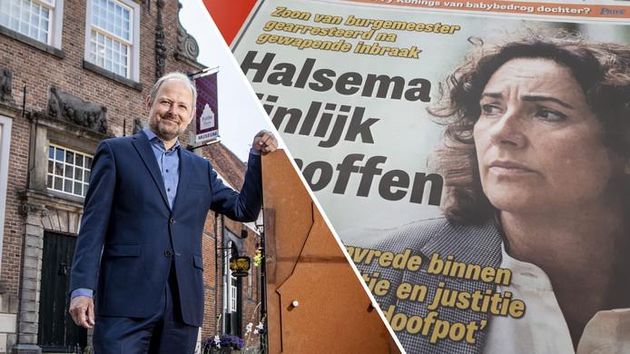 Burgemeester Patrick Welman van Oldenzaal, rechts de voorpagina van De Telegraaf over Femke Halsema
