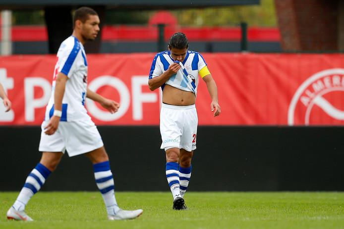 Teleurstelling na de eerste tegentreffer van FC Lienden bij Jong Almere City.