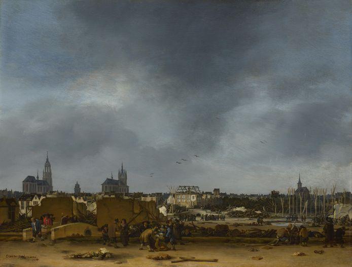 Gezicht op Delft na de explosie in 1654: schilderij van Egbert Lievenszoon van der Poel.
