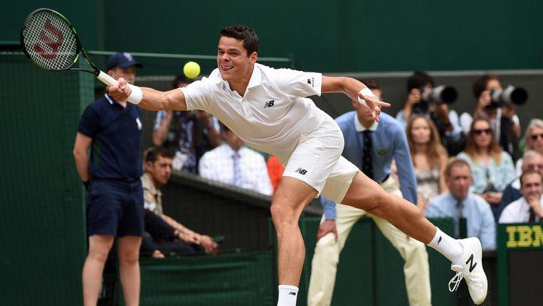 De leerling: Milos Raonic in de halve finale van Wimbledon 2016. Krajicek gaat hem vanaf 2017 coachen. Beeld epa