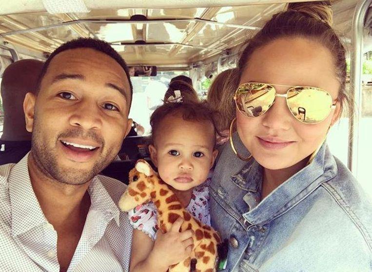 John Legend, Chrissy Teigen en hun dochter Luna.