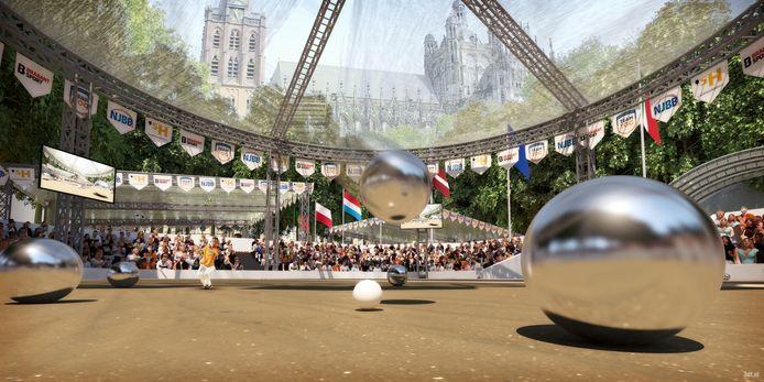 De petanque-ballen rollen over twee jaar in een stadion op de Parade in Den Bosch.