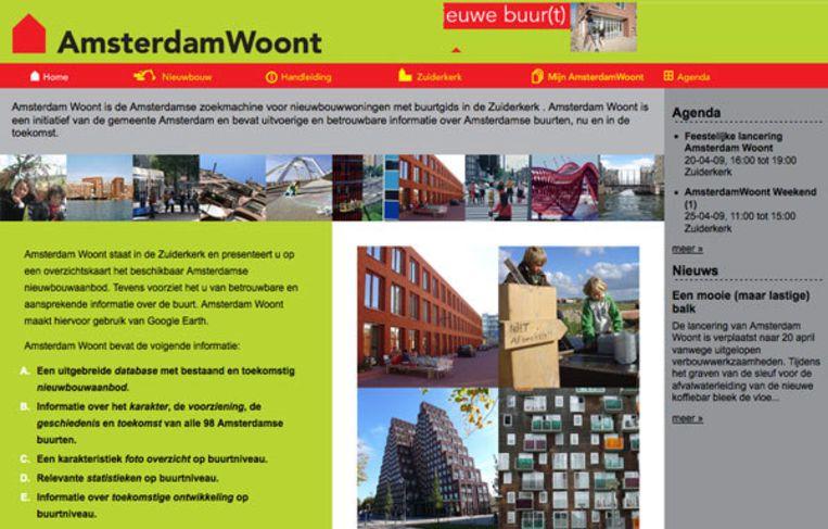 De website Amsterdamwoont.nl Beeld