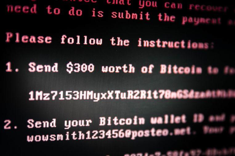 Een scherm met daarop het bericht dat Ransomware is achtergelaten op een geïnfecteerde computer. Beeld ANP
