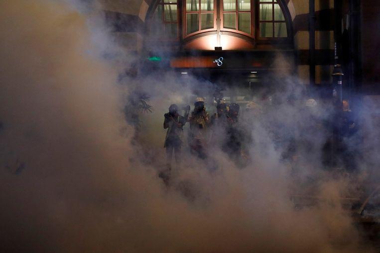 De politie zette traangas in bij de betogingen van gisteren.