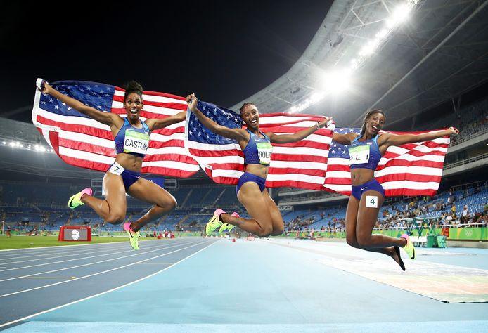 Clean sweep! Goud, zilver en brons voor de VS op de 100 meter horden in Rio. Vlnr Kristi Castlin (brons), Brianna Rollins (goud) en Nia Ali (zilver).