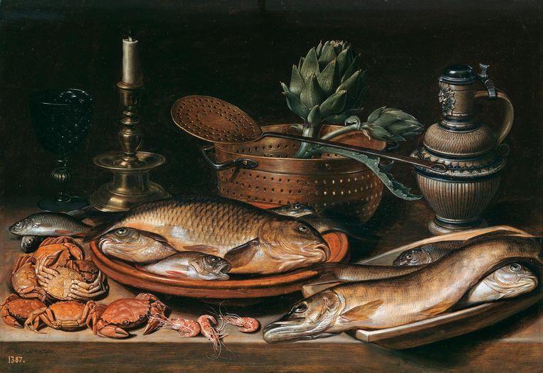 Stilleven met vis, krab en een artisjok - Clara Peeters. Olie op doek, 1611. 50 x 72 cm. Beeld Museo Nacional del Prado
