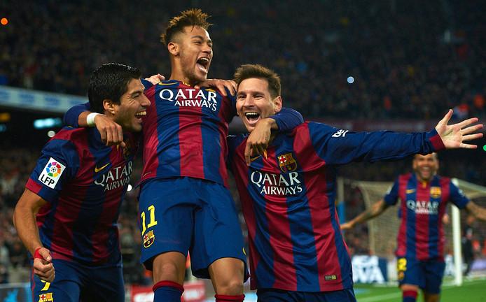 Wordt El Tridente in ere hersteld? Vlnr: Luis Suárez, Neymar en Lionel Messi.