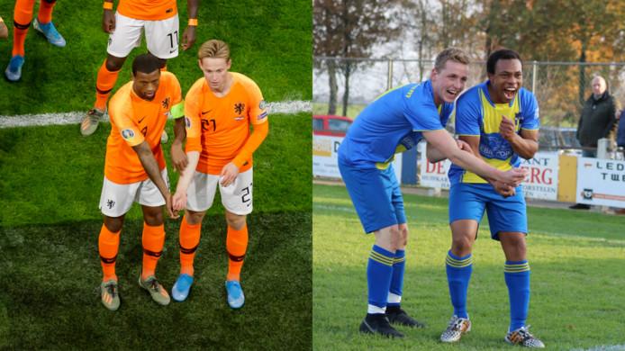 Links Georginio Wijnaldum en Frenkie de Jong, rechts Stijn Slaghekke en Lindsay Moncherry van de Twentse amateurclub Reutum.