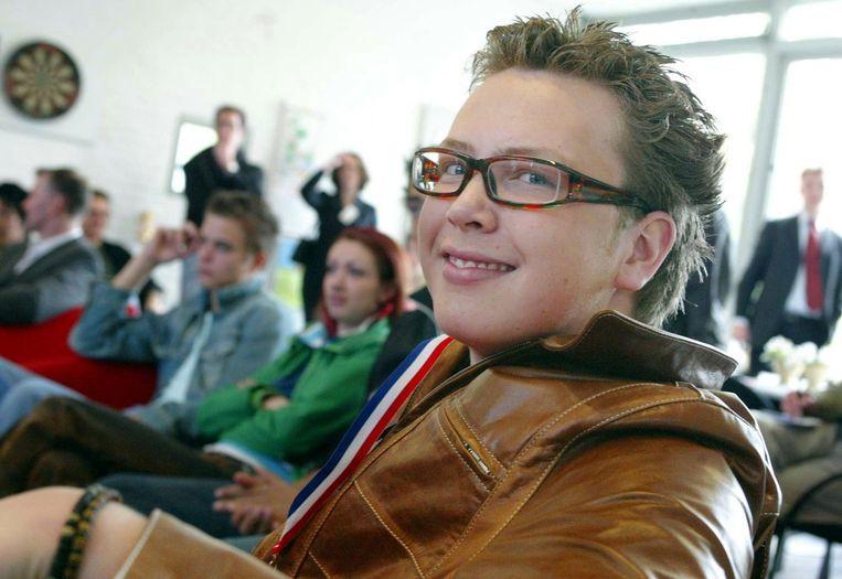 Jamai tijdens de huldiging op zijn school in Schoonhoven, met op de achtergrond Jim en Dewi. Beeld anp