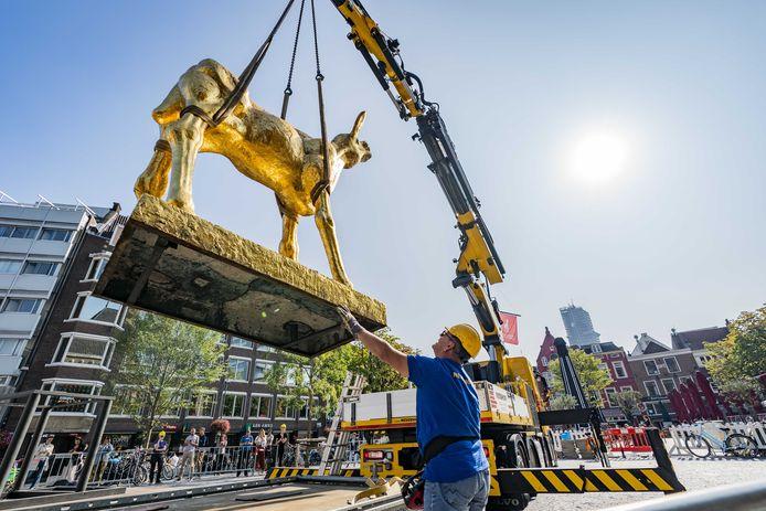 Het grote standbeeld van het Gouden Kalf is op de Neude geplaatst. Het icoon van het Nederlands Film Festival (NFF).