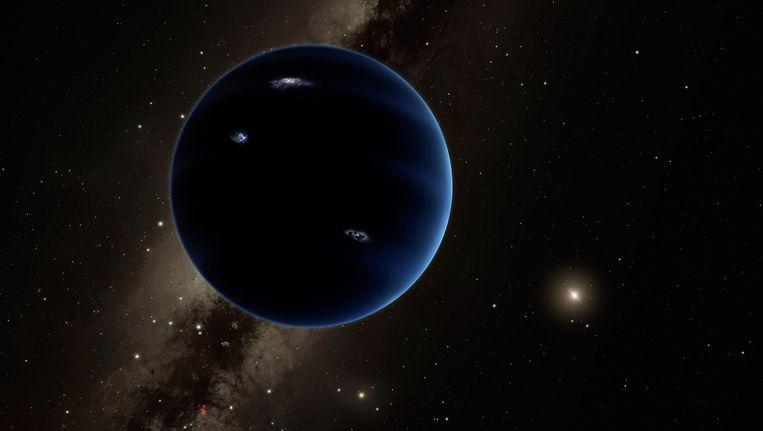 Impressie van de negende planeet die vermoedelijk net als Uranus en Neptunus uit gas bestaat. Beeld afp