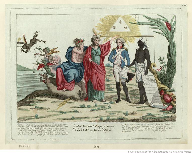 Franse postzegel uit 1794, toen het land de slavernij afschafte. Beeld null