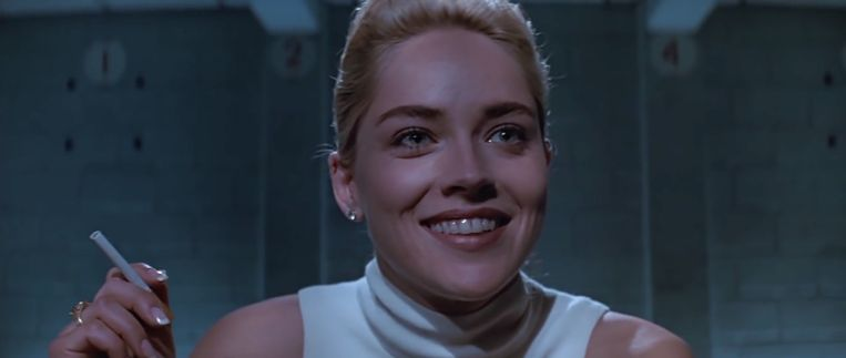 Sharon Stone als Catherine Tramell in Basic Instinct (Paul Verhoeven, 1992). Beeld null