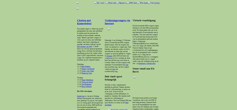 Website van D66, rond 1998. Beeld
