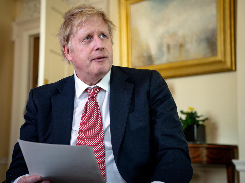 Boris Johnson rond Pasen, nadat hij uit het ziekenhuis werd ontslagen. Beeld Getty