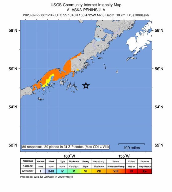 Une carte des tremblements de terre mise à disposition par l'USGS (United States Geological Survey) montre l'emplacement d'un tremblement de terre d'une magnitude de 7,8 qui a frappé le sud de la ville de Chignik en Alaska, aux États-Unis, le 22 juillet 2020.