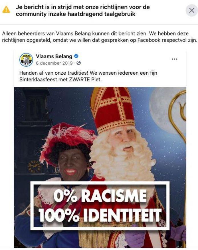Vlaams Belang kreeg afgelopen nacht enkele waarschuwingen voor afbeeldingen van Zwarte Piet op hun Facebookpagina.