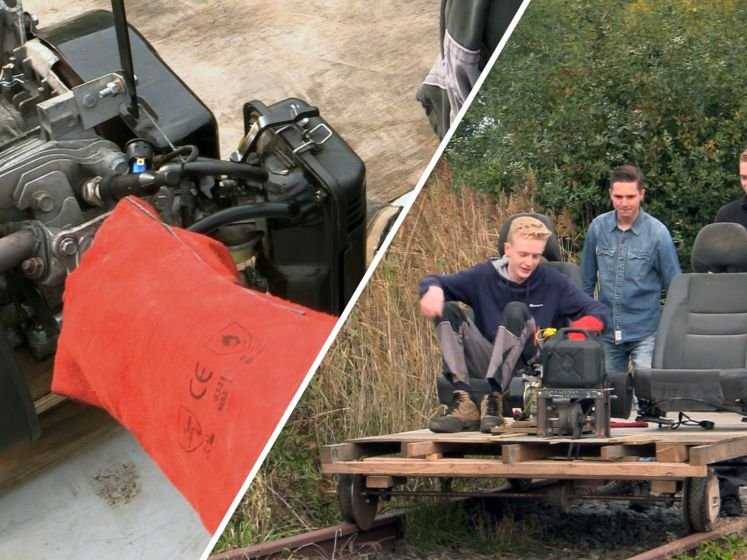 Verveling in coronatijd? Bram en Daan bouwen eigen 'treintje'