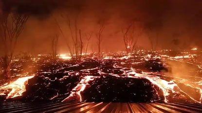 Apocalyptische beelden: verslaggever filmt hoe naderende lava huis omsingelt in Hawaï