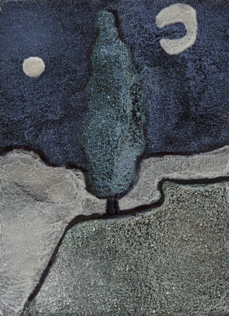 Om te laten zien dat het pauwenpigment werkt, maakten de onderzoekers onder andere dit mini-schilderijtje, geïnspireerd op onder andere Vincent van Goghs 'Weg met een cipres en een ster'. Beeld null