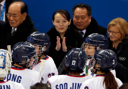 De zus van Kim Jong-un juicht voor het gezamenlijke ijshockeyteam tijdens de Spelen in Pyeongchang.