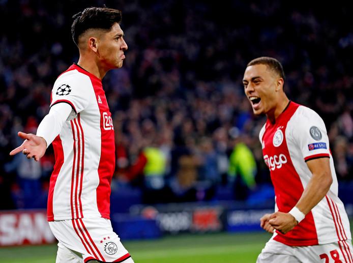 Vreugde bij Edson Alvarez nadat hij Ajax op 2-0 heeft gezet tegen Lille.