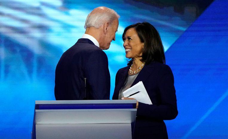 Joe Biden en Kamala Harris vorig jaar bij een debat in Houston, Texas. Beeld Reuters