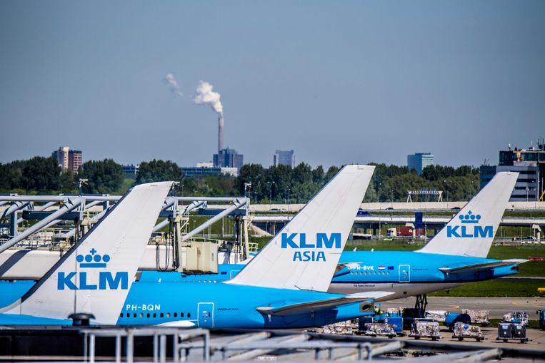 Vliegtuigen van KLM op luchthaven Schiphol.
