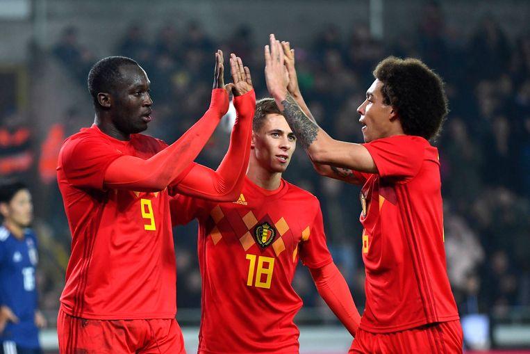 Lukaku en Witsel vieren een doelpunt.
