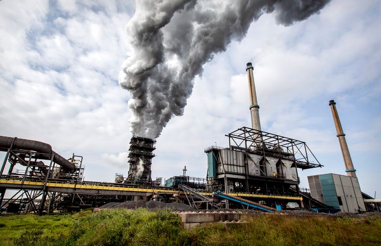 Het terrein van staalproducent Tata Steel in IJmuiden. Beeld Hollandse Hoogte /  ANP