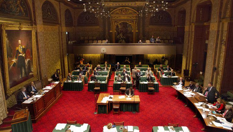 Minister-president Mark Rutte aan het woord achter de regeringstafel in de Eerste Kamer op de eerste dag van de Algemene beschouwingen. (archief) Beeld ANP