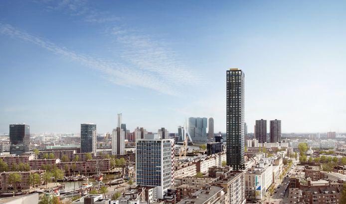 Impressie van de Baan Tower in Rotterdam.