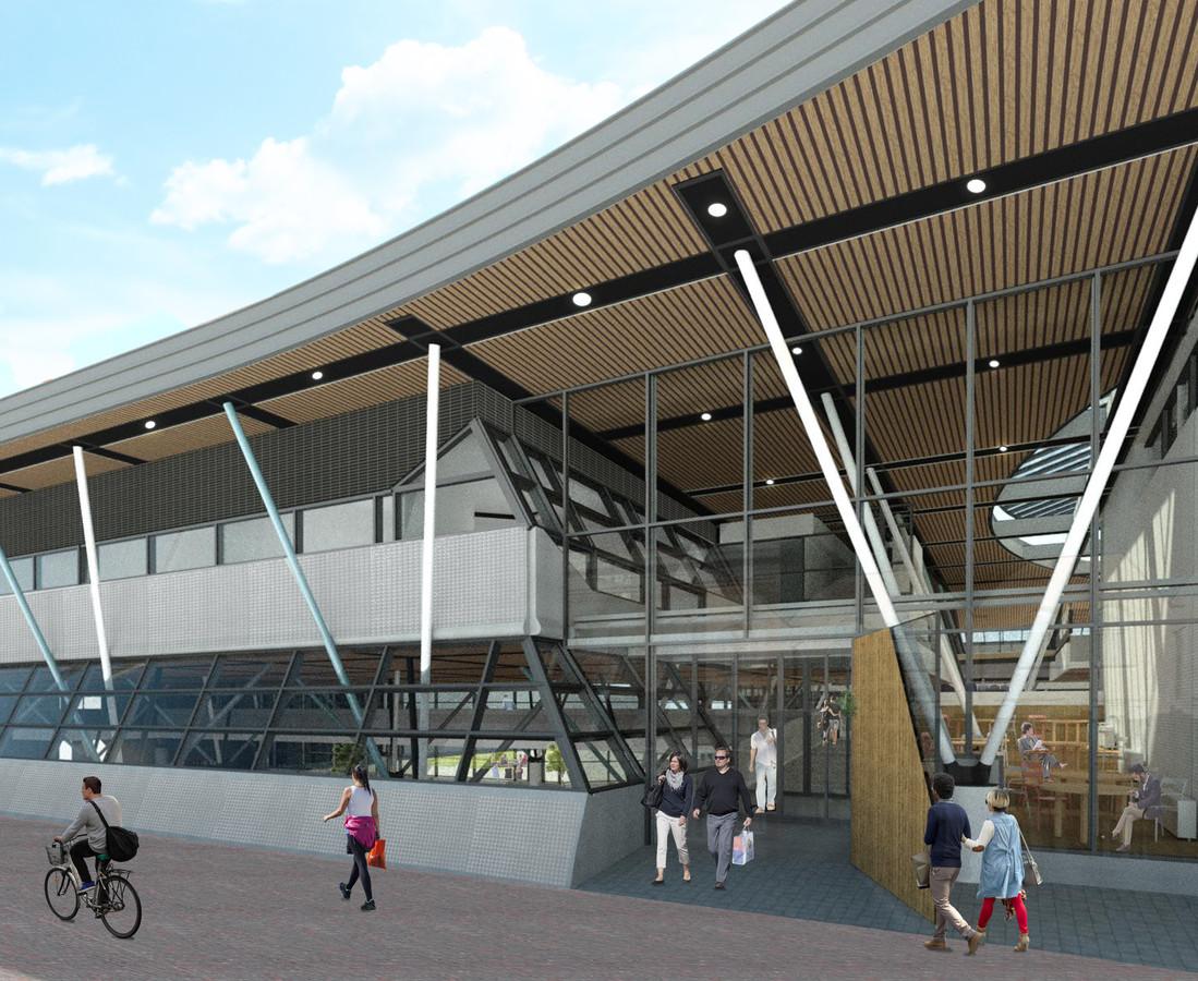Impressie van de nieuwe entree van de 'culturele markthal' Nieuwe Veste, waarbij de pui iets naar voren is gehaald.