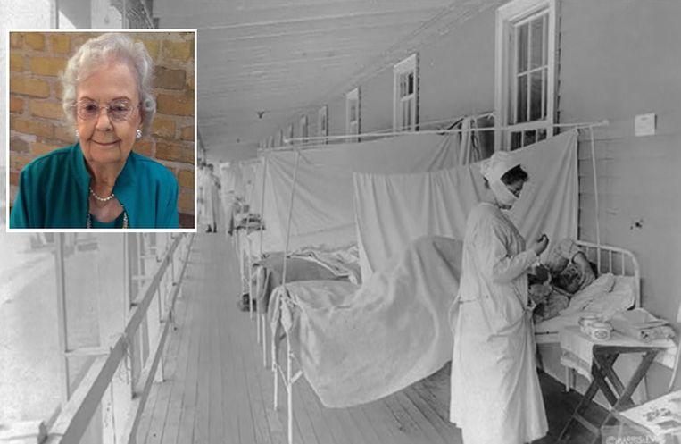 Een verpleegster verzorgt  grieppatiënten in een ziekenhuis in de Amerikaanse hoofdstad Washington DC, foto uit 1918. In de VS vielen minstens 675.00 doden door de Spaanse griep. Inzet: Selma Ester Ryan (96).