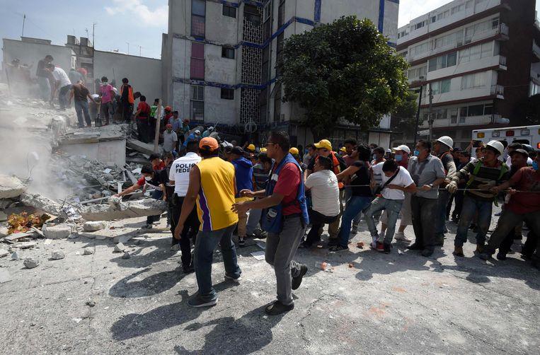 Mexico-Stad dinsdag na de aardbeving. Beeld afp