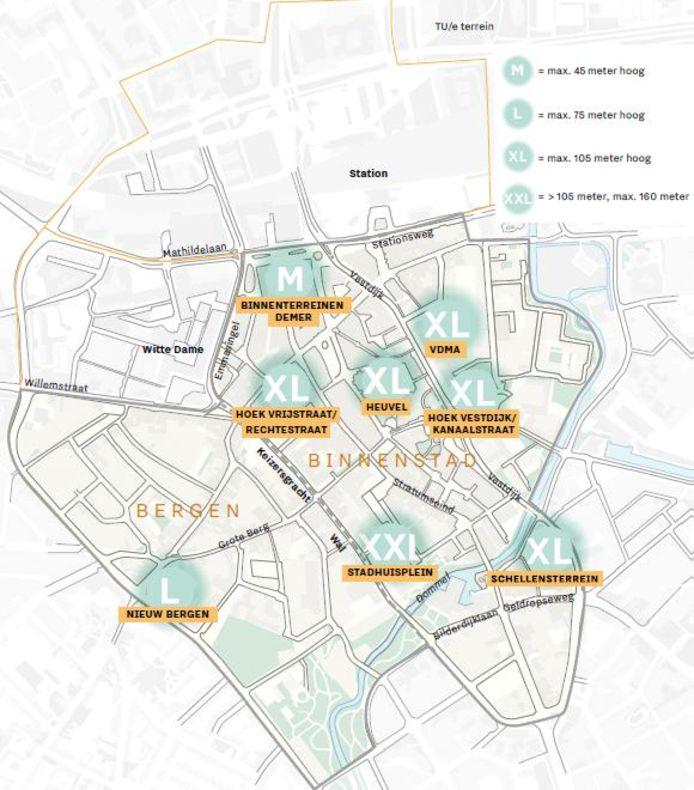 De zogenaamde focusgebieden voor hoogbouw in de binnenstad van Eindhoven.