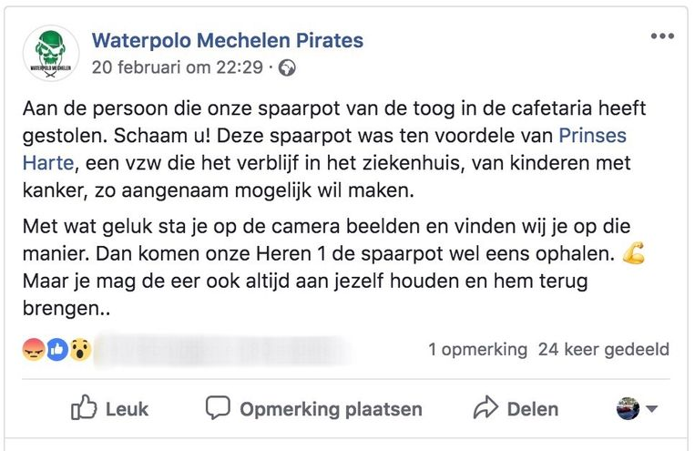De waterpoloclub plaatste dit bericht op haar Facebookpagina.