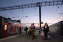 De platzkarttrein naar Oefa vertrekt van het Kazanskystation in Moskou.