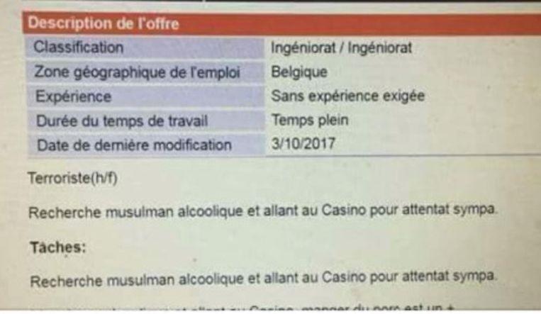 In de jobomschrijving staat dat ze op zoek zijn naar 'een alcoholische moslim die naar het casino gaat voor een symphatieke aanslag'.