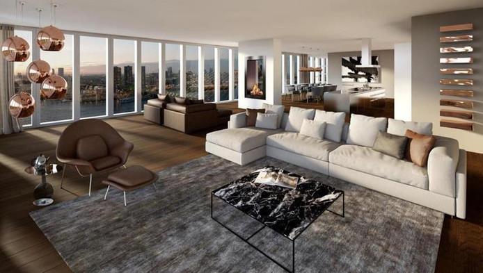 Een impressie van het XXXL Penthouse op de website van Funda. In werkelijkheid is de ruimte nog helemaal kaal.