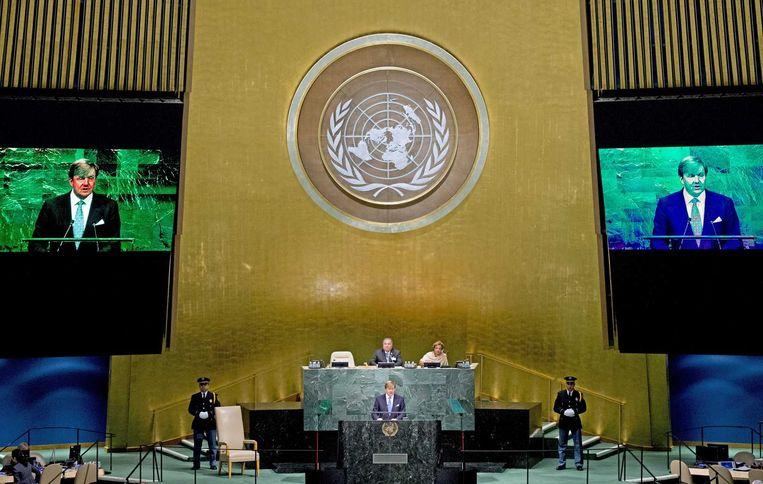 Koning Willem-Alexander spreekt de Algemene Vergadering van de VN toe en benadrukt dat alle landen zich moeten inzetten om de verantwoordelijken van de vliegramp met MH17 te achterhalen en te berechten. Beeld null