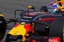 Max Verstappen in 2016 in actie tijdens de vrije training voor de Grote Prijs van Duitsland op circuit Hockenheim.