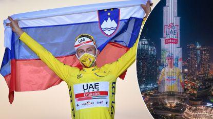 Verenigde Arabische Emiraten in de wolken met Tour-winst van Pogacar: Sloveen als eerbetoon afgebeeld op hoogste gebouw ter wereld